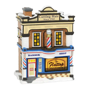Department 56 Snow Village Flattop Barbershop Animated Building-TGC Toys and Gifts
