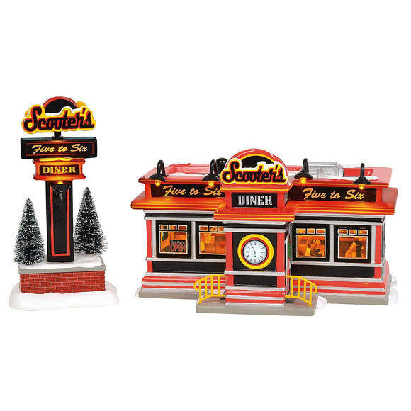 Department 56 Snow Village Scooter's Diner Lighted Building - TGC Toys and Gifts