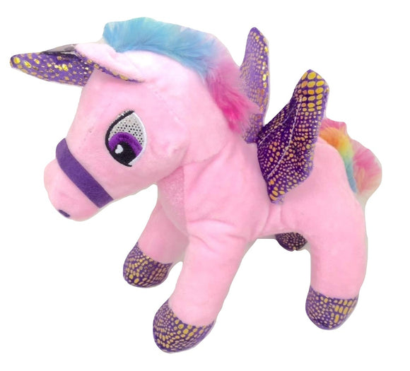 Pink Unicorn with Wings and Rainbow Colored Manes Plush Stuffed Animal - 9