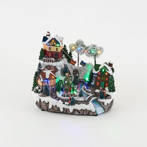 Animated Alpine Ski Town with Lights by 180 Degrees - TGC Toys and Gifts