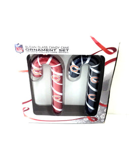Chicago Bears Blown Glass Candy Cane Ornament Set - TGC Toys and Gifts