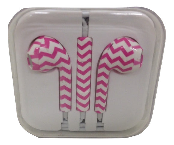 Pink Chevron Decorative Patterned Earbuds - TGC Toys and Gifts
