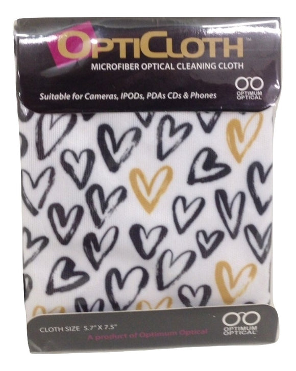 Optimum Optical Hearts OptiCloth Microfiber Optical Cleaning Cloth - TGC Toys and Gifts