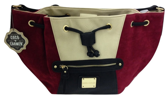 Coco+Carmen Cara Red Colorblock Bucket Bag