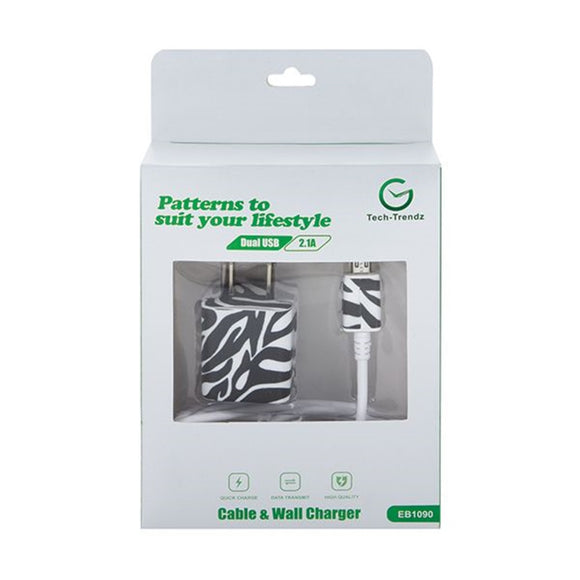 Tech Trendz Zebra Print Pattern Cell Phone Charger Set Compatible with Android Mobile Devices - TGC Toys and Gifts