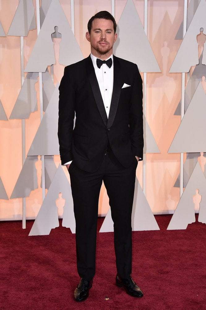 Channing Tatum wearing a jet black dinner suit