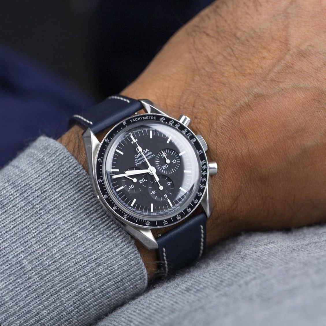 Molequin Navy Leather Strap on Speedmaster