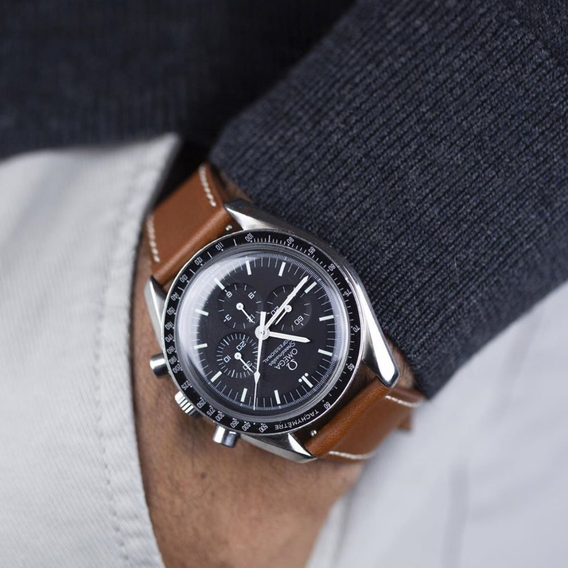 Tan Leather Strap Speedmaster