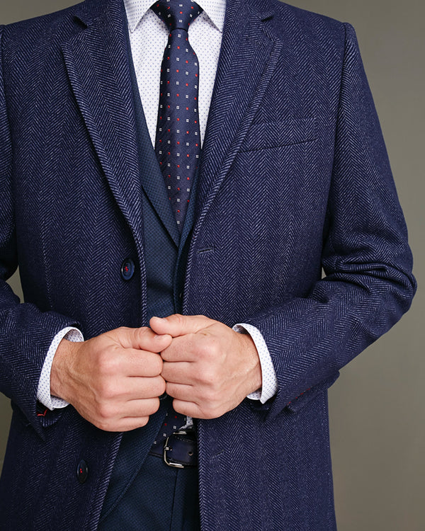 Herringbone Wool-Cotton Coat |  Coats - Menzclub