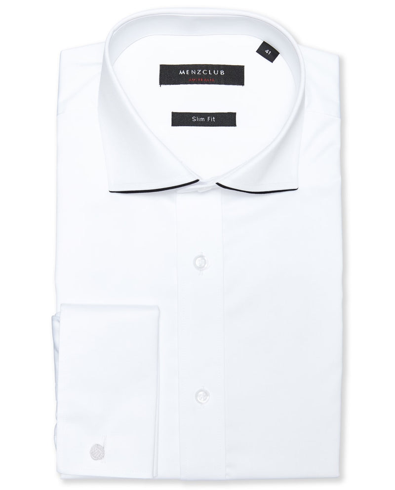 White Shirt with Collar Trim |  Formal Dinner Shirts - Menzclub