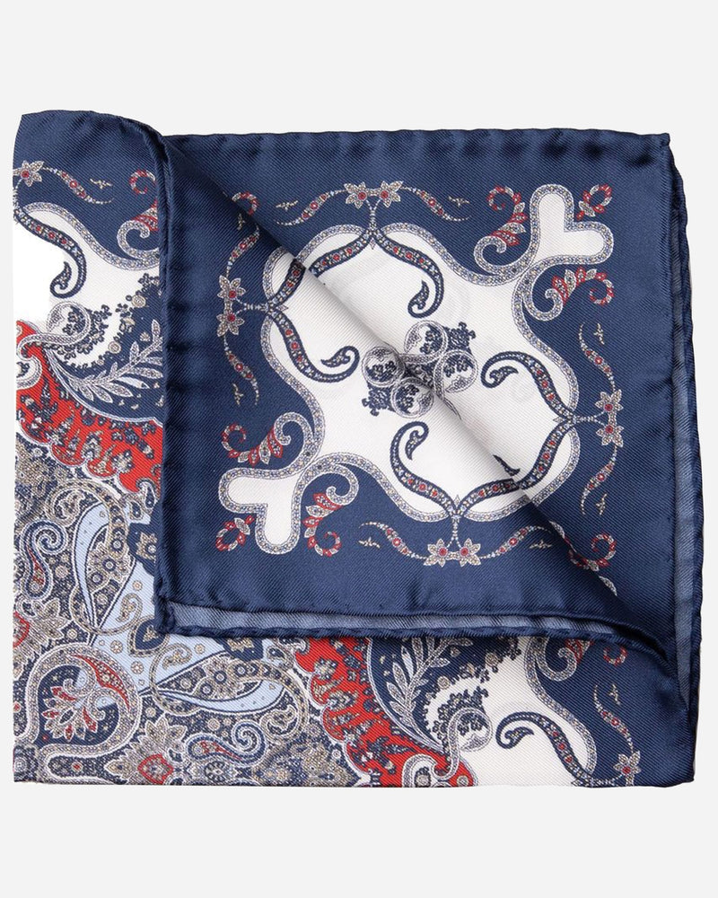 Navy Floral Pocket Square |  Pocket Squares - Menzclub