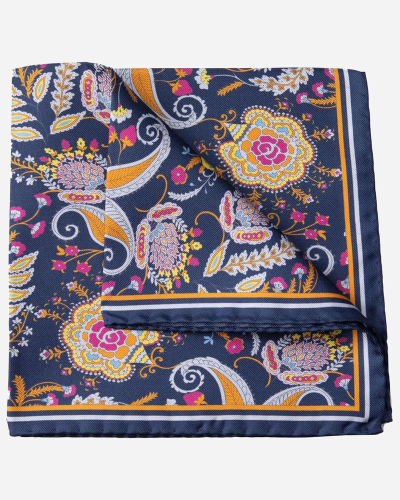 Navy Paisley Pocket Square |  Pocket Squares - Menzclub
