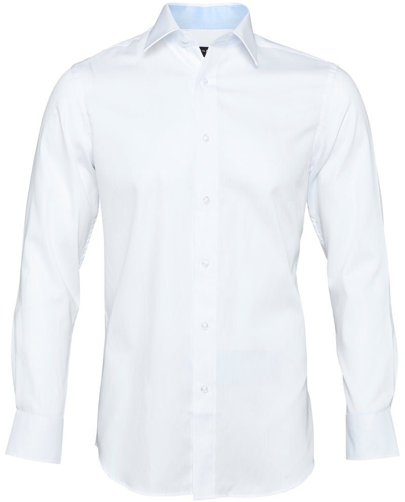 White Shirt with Blue Trim |  Formal Shirts - Menzclub