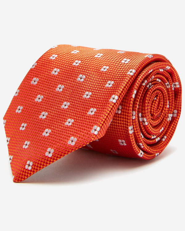 Orange Floral Tie | Men's Ties Online - Menzclub
