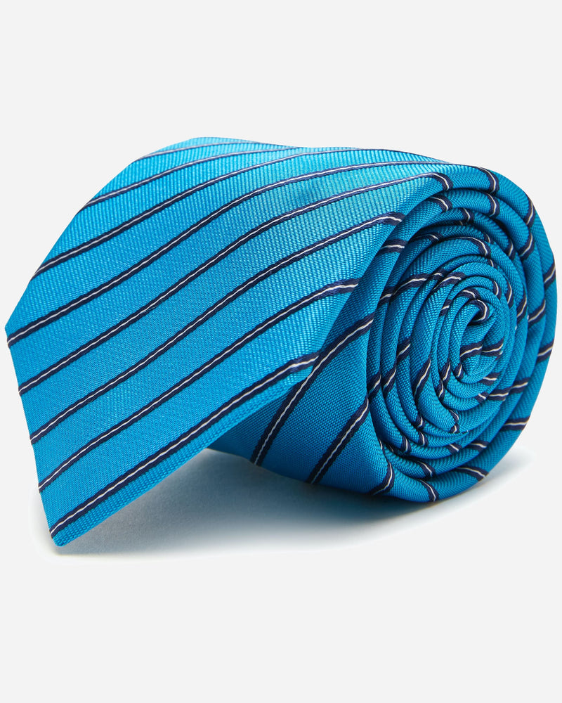 Domain Teal Stripe Tie | Men's Ties Online - Menzclub