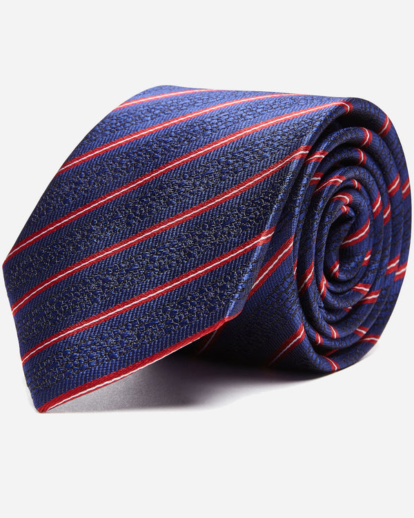 Navy Striped Business Tie | Men's Silk Ties Online