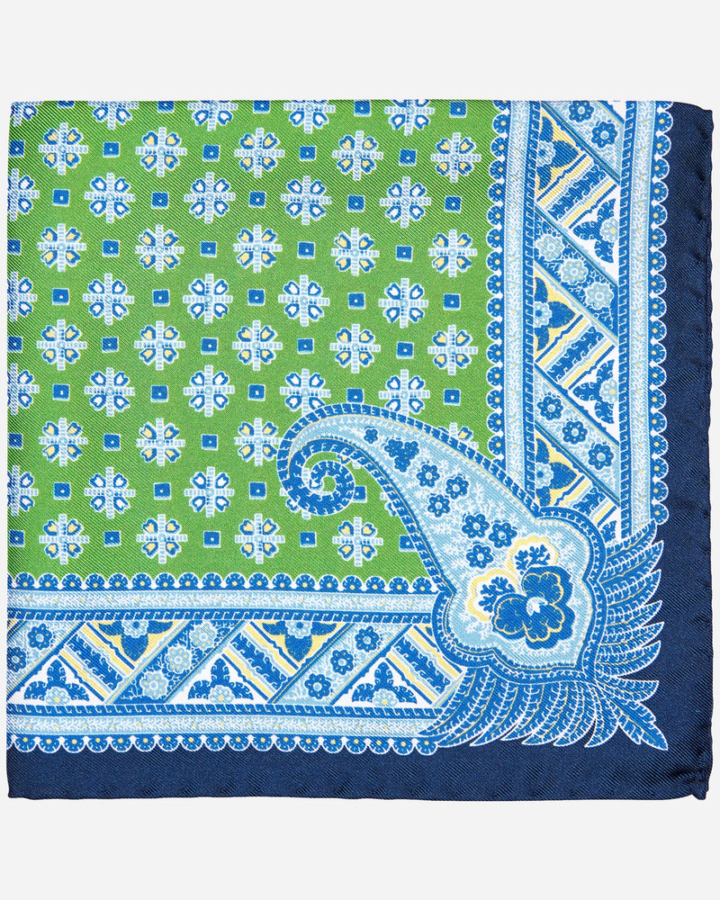 Green & Blue Printed Pocket Square - Menzclub