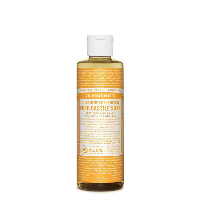 Fresh and bright with an invigorating blend of organic orange, lemon and lime oils! Dr Bronner's Citrus Pure-Castile Liquid Soap is concentrated, biodegradable, versatile and effective. Made with organic and certified fair trade ingredients with no synthetic preservatives, detergents or foaming agents. 237ml.