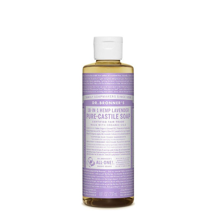 Scented with pure lavender and lavandin oils to calm the mind and soothe the body - perfect for kids and adults alike!  Dr Bronner's Pure-Castile Lavender Liquid Soap is concentrated, biodegradable, versatile and very effective. Made with organic and certified fair trade ingredients that have no synthetic preservatives, detergents or foaming agents. 237ml.
