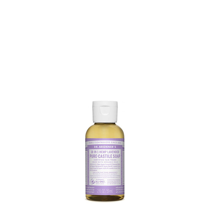 Scented with pure lavender and lavandin oils to calm the mind and soothe the body - perfect for kids and adults alike!  Dr Bronner's Pure-Castile Lavender Liquid Soap is concentrated, biodegradable, versatile and very effective. Made with organic and certified fair trade ingredients that have no synthetic preservatives, detergents or foaming agents. 59ml a perfect travel size.