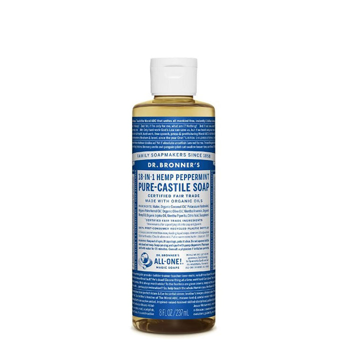 Dr Bronner's most popular scent, with a peppermint burst so pure it tingles. Organic peppermint oil cools the skin, clears sinuses and sharpens the mind!  Dr Bronner's Pure-Castile Peppermint Liquid Soap is concentrated, biodegradable, versatile and very effective. Made with organic and certified fair trade ingredients that have no synthetic preservatives, detergents or foaming agents. 237ml.
