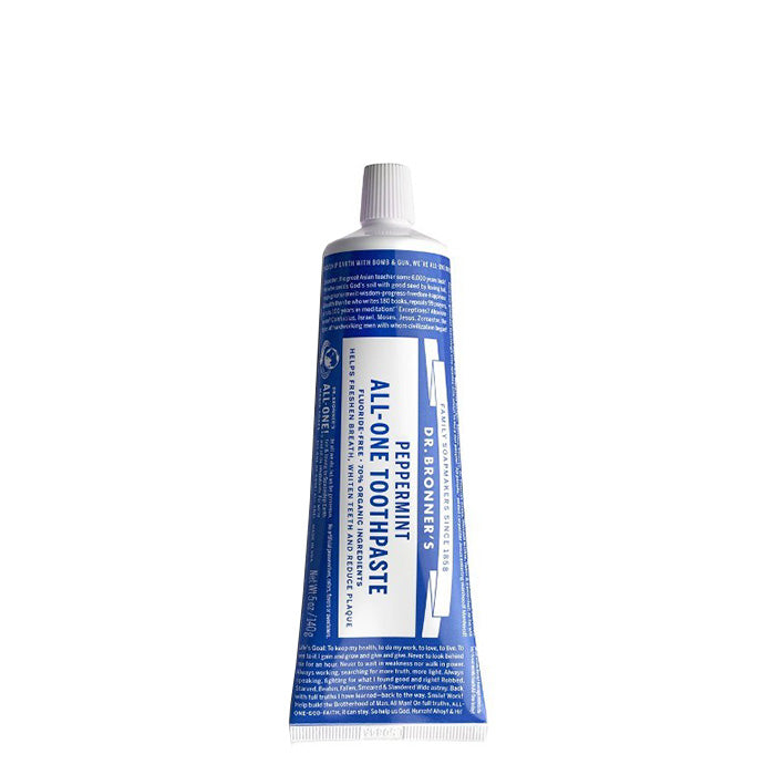 Dr. Bronner's Peppermint toothpaste is made from 70% organic ingredients! A low-foaming formula that has no synthetic detergent foaming agents, is fluoride-free, vegan and cruelty-free. With no artificial colours, flavours, preservatives, or sweeteners. 140g. Certified Fair Trade Organic Ingredients.