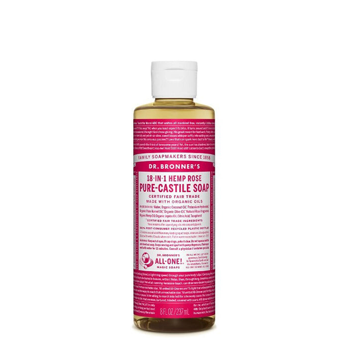 Floral and fresh, with a hint of sweetness, Dr Bronner's Rose Pure-Castile Liquid Soap is beautiful. This soap is concentrated, biodegradable, versatile and very effective. Made with organic and certified fair trade ingredients that have no synthetic preservatives, detergents or foaming agents. 237ml.