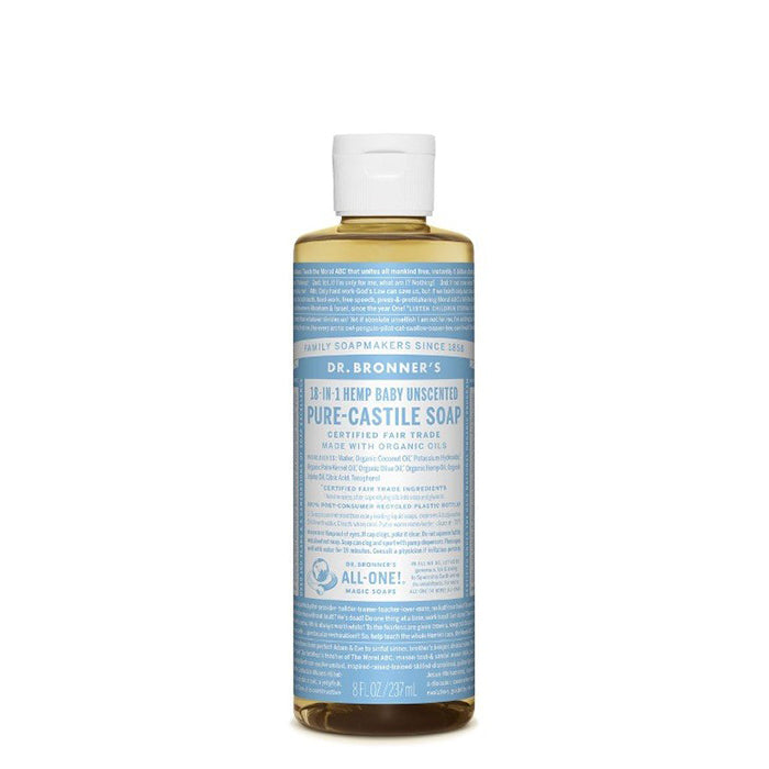 Dr Bronner's Unscented Pure Castile Liquid Soap has no added fragrance and double the olive oil. Good for sensitive skin & babies too, though not tear free, this soap is concentrated, biodegradable, versatile and very effective. Made with organic and certified fair trade ingredients with no synthetic preservatives, detergents or foaming agents it has 18 in 1 uses. 237ml.