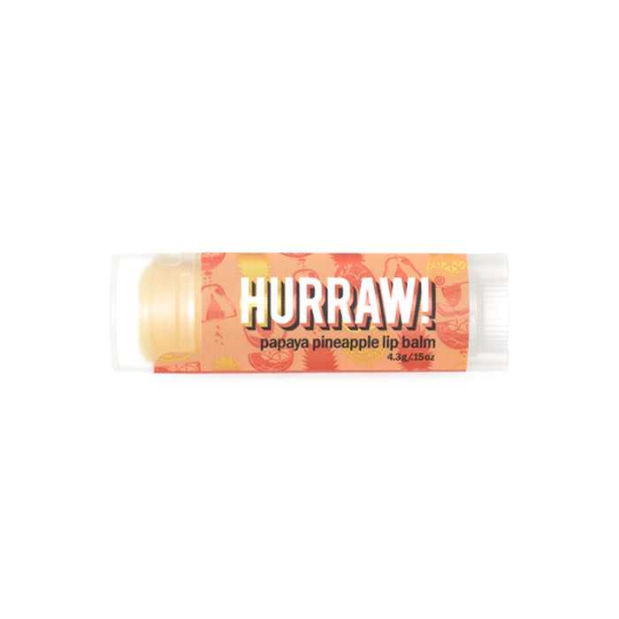 All natural and vegan, this Pineapple Papaya Hurraw Lip Balms are made from premium raw, organic and fair trade ingredients, with natural flavours. Hurraw is 100% cruelty free and palm oil free. Super smooth, long lasting, not sticky or sweet, not too glossy, never grainy. Plus, it holds up to being in a back jeans pocket all day without melting! 4.3g