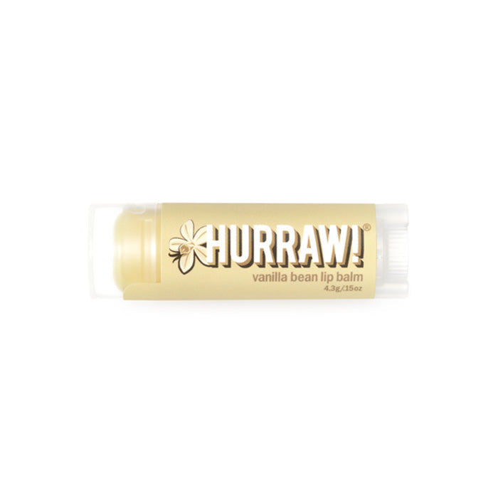 All natural and vegan, this Vanilla Bean Hurraw Lip Balm is made from premium raw, organic and fair trade ingredients, with natural flavours. Hurraw is 100% cruelty free and palm oil free. Super smooth, long lasting, not sticky or sweet, not too glossy, never grainy. Plus, it holds up to being in a back jeans pocket all day without melting!