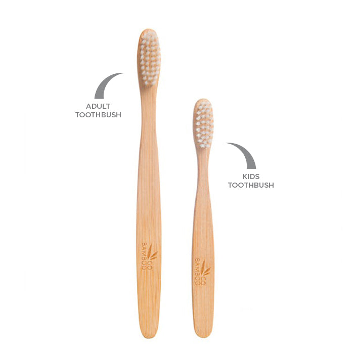 Go Bamboo Children's Toothbrush. The handle made from natural and sustainable MOSO bamboo, and is sealed with an edible wax. The bristles are BPA free and the entire toothbrush is biodegradable and recyclable.