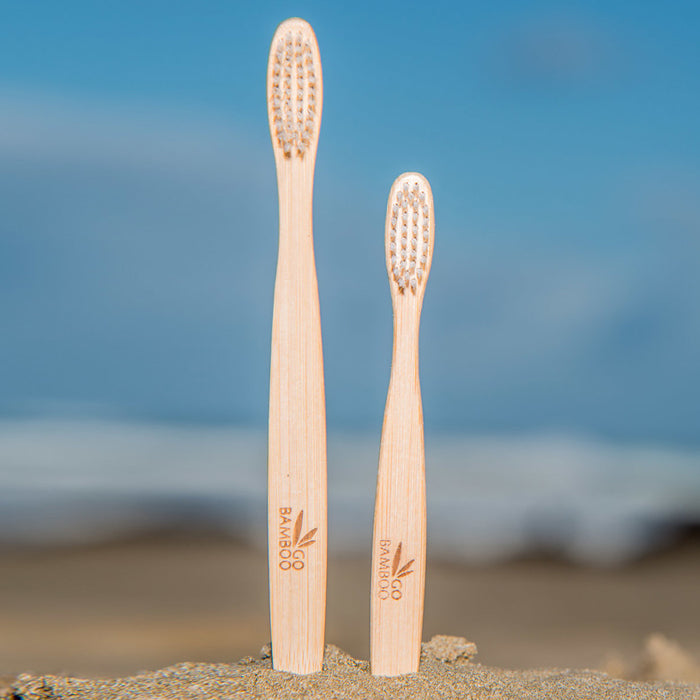 Go Bamboo Adult Toothbrush. The handle made from natural and sustainable MOSO bamboo, and is sealed with an edible wax. The bristles are BPA free and the entire toothbrush is biodegradable and recyclable.
