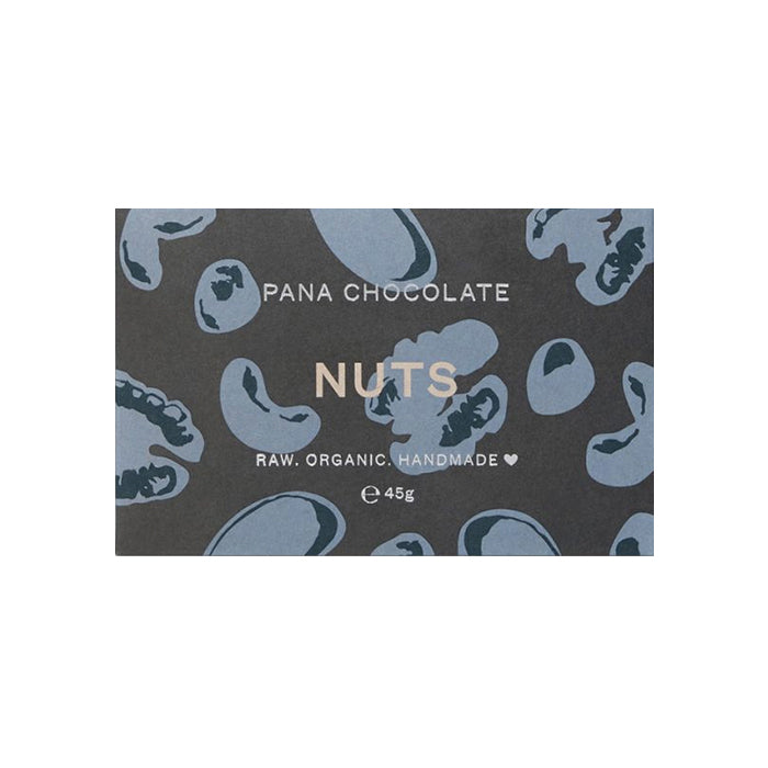 Pana Chocolate Nuts is made from 50% raw cacao with hazelnuts, brazil nuts, cashews and walnuts. Organic, Handmade, Vegan. 45g