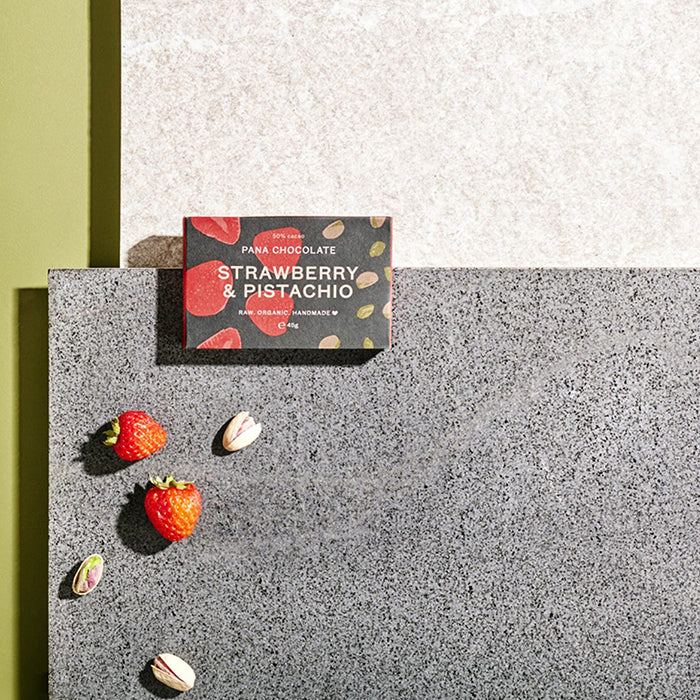 Pana Chocolate Strawberry & Pistachio is made from 50% raw cacao with strawberry and pistachio pieces. Organic, Handmade, Vegan. 45g