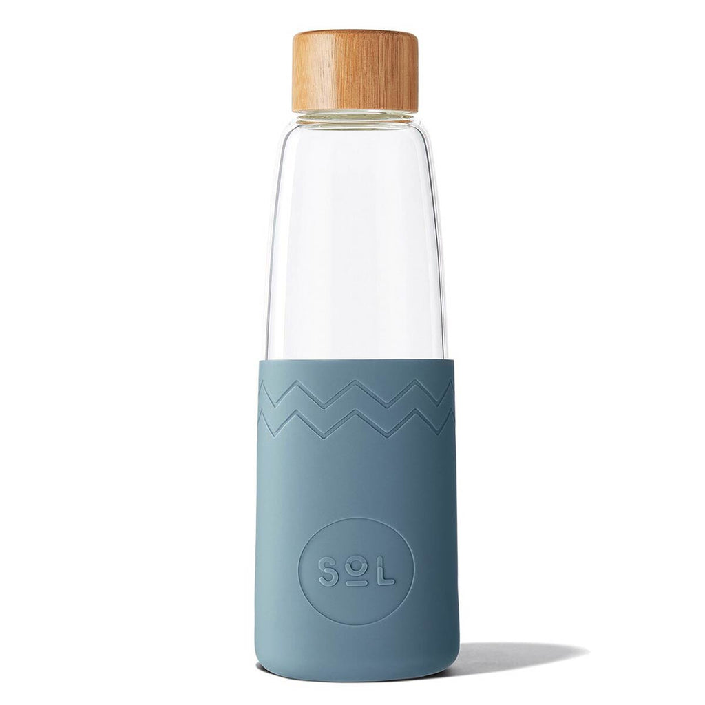 SoL Water Bottles - hand-blown glass & silicone durable drinking bottle