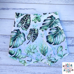 Green leaf harem shorts