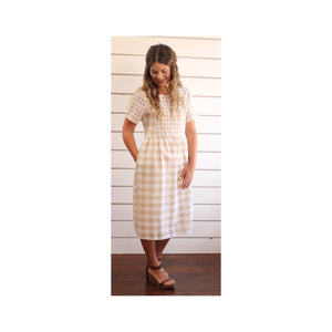 Taupe Checker Dress