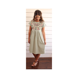 Embroidered Dress - Sage