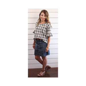 Navy Check Peasant Top