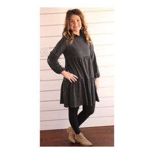 Tier Dress/Tunic {Available in Charcoal and Blue}
