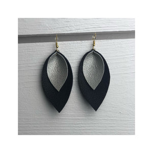 Large Double Leather Earring Style 14