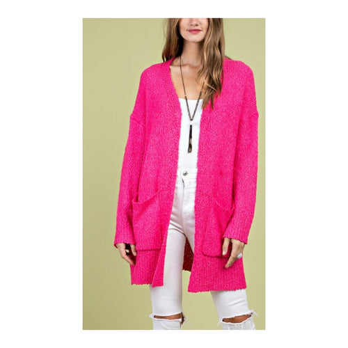 Hot Pink Chunky Knit Cardigan