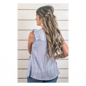 Blue Sleeveless Ruffle Top