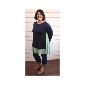 Navy/Mint Color Block Tunic