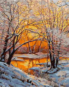 Snowy river paint by numbers