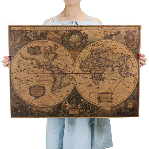 Retro World Map Nautical Ocean Map Vintage Kraft Paper Poster Wall Sticker