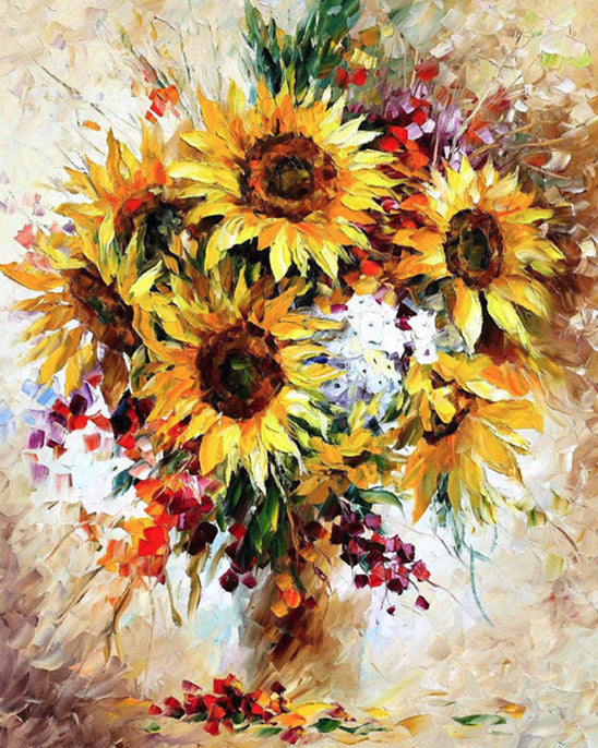 Sun flower paint by numbers