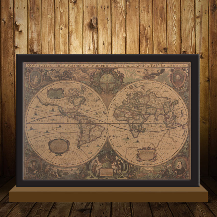 Retro World Map Nautical Ocean Map Vintage Kraft Paper Poster Wall - Retro world map poster