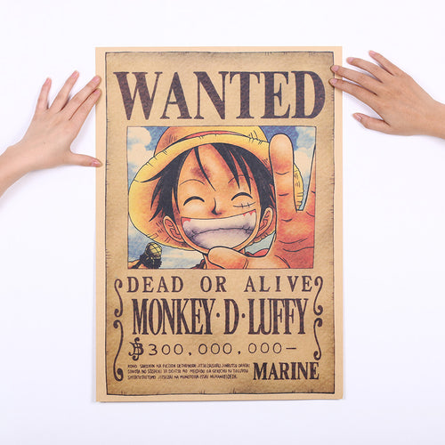 One Piece Luffy Wanted Poster Wall Sticker