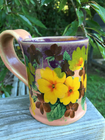 Colorful flowers hand-built mug
